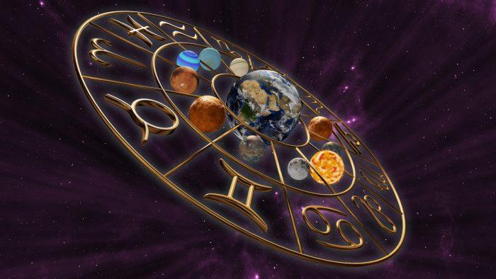 Astrology wheel purple background